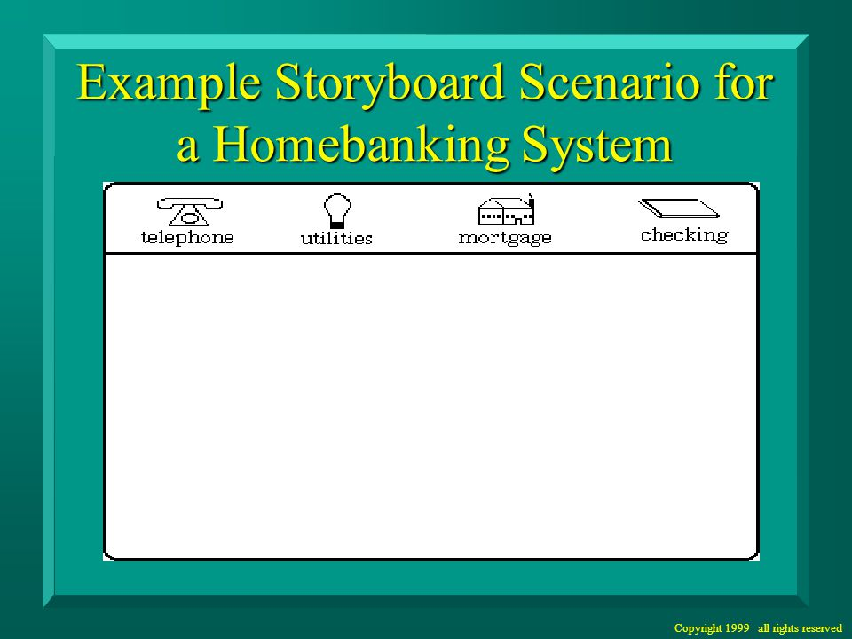 Copyright 1999 all rights reserved Example Storyboard Scenario for a Homebanking System