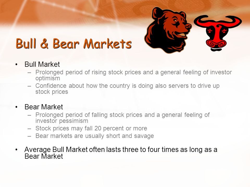 Bull & Bear Markets Bull Market –Prolonged period of rising stock prices and a general feeling of investor optimism –Confidence about how the country is doing also servers to drive up stock prices Bear Market –Prolonged period of falling stock prices and a general feeling of investor pessimism –Stock prices may fall 20 percent or more –Bear markets are usually short and savage Average Bull Market often lasts three to four times as long as a Bear Market