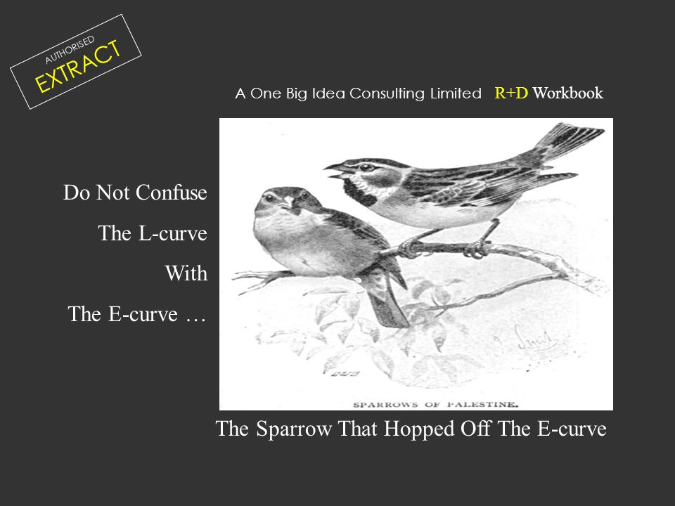 Do Not Confuse The L-curve With The E-curve … The Sparrow That Hopped Off The E-curve A One Big Idea Consulting Limited R+D Workbook AUTHORISED EXTRAC