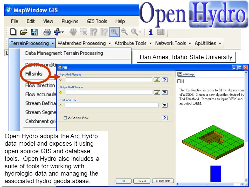 Open Hydro adopts the Arc Hydro data model and exposes it using open source GIS and database tools. Open Hydro also includes a suite of tools for work