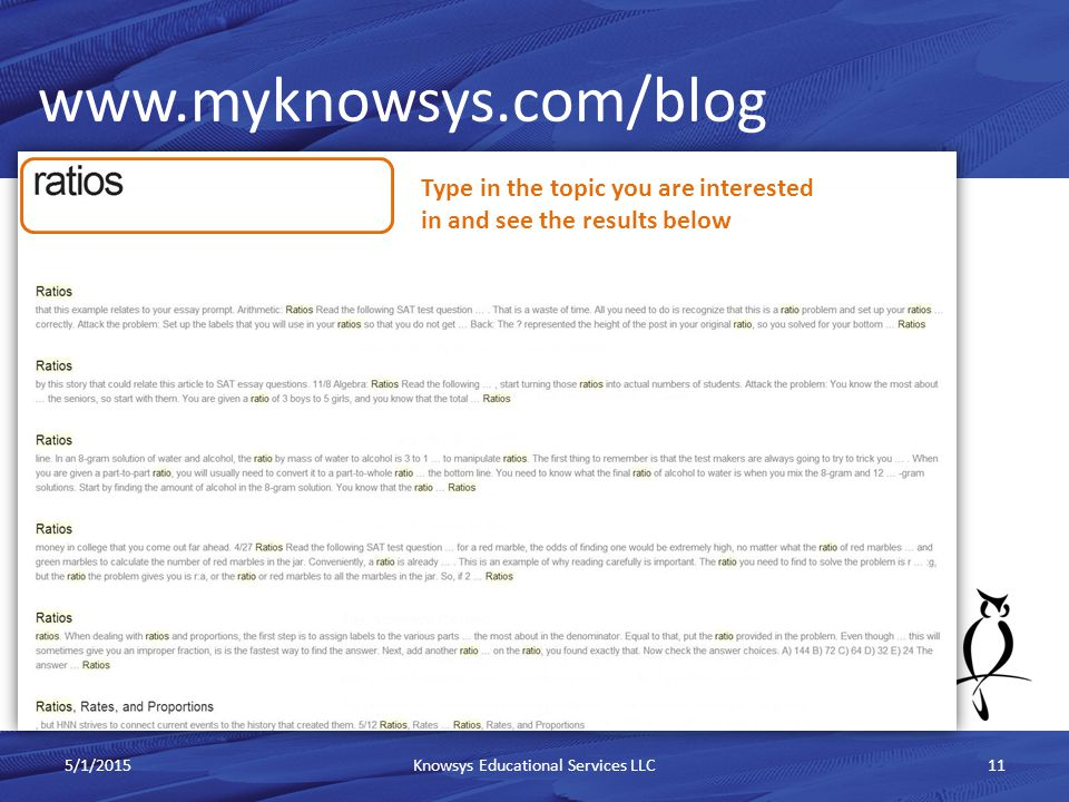 www.myknowsys.com/blog 5/1/2015Knowsys Educational Services LLC11 Type in the topic you are interested in and see the results below