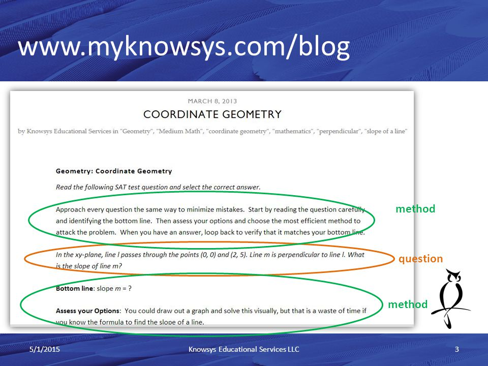www.myknowsys.com/blog 5/1/2015Knowsys Educational Services LLC4 Step-by-step solutions method