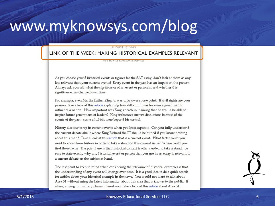 www.myknowsys.com/blog 5/1/2015Knowsys Educational Services LLC6