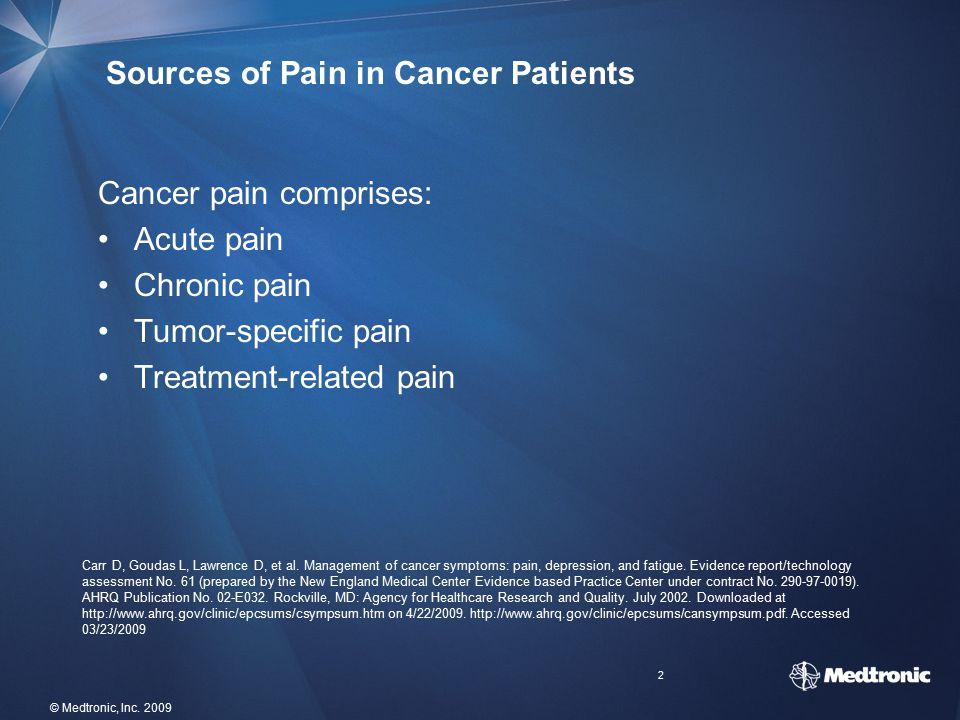 2 Sources of Pain in Cancer Patients Cancer pain comprises: Acute pain Chronic pain Tumor-specific pain Treatment-related pain Carr D, Goudas L, Lawre