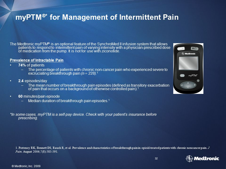 32 © Medtronic, Inc. 2009 myPTM ® * for Management of Intermittent Pain The Medtronic myPTM ® is an optional feature of the SynchroMed II infusion sys