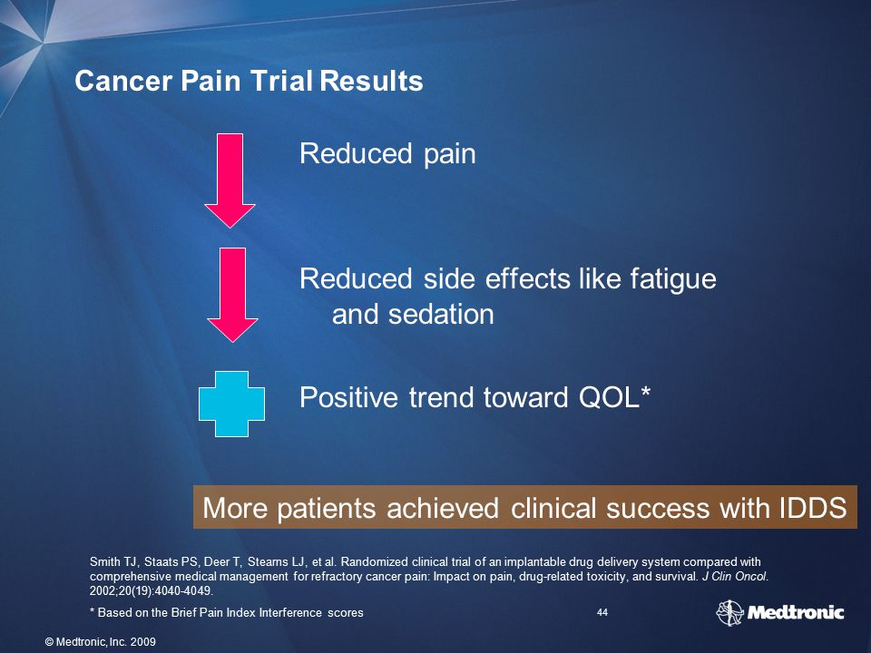 44 © Medtronic, Inc. 2009 Cancer Pain Trial Results Reduced pain Reduced side effects like fatigue and sedation Positive trend toward QOL* More patien