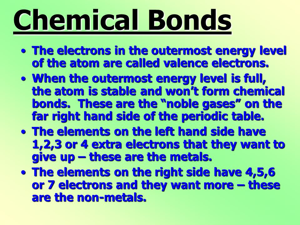 Chemical Bonds The electrons in the outermost energy level of the atom are called valence electrons.The electrons in the outermost energy level of the atom are called valence electrons.