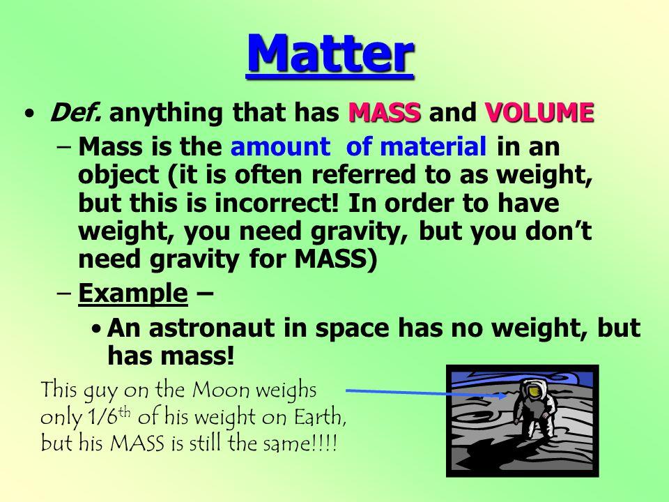 Matter MASSVOLUMEDef.