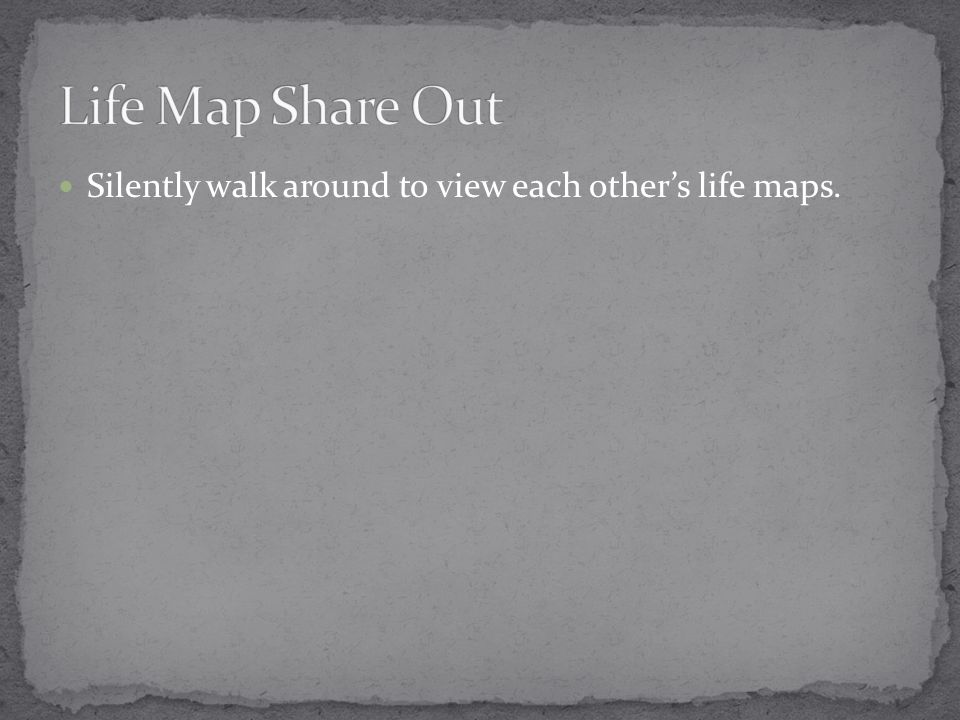Silently walk around to view each other's life maps.