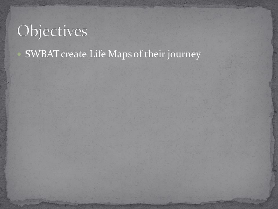 SWBAT create Life Maps of their journey