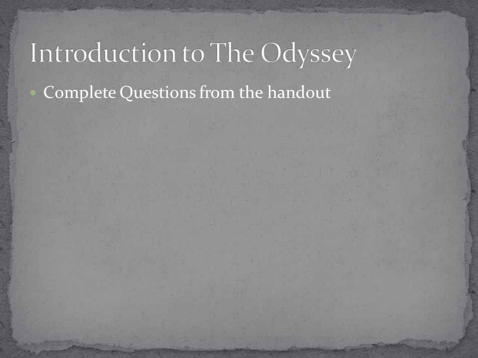 Complete Questions from the handout