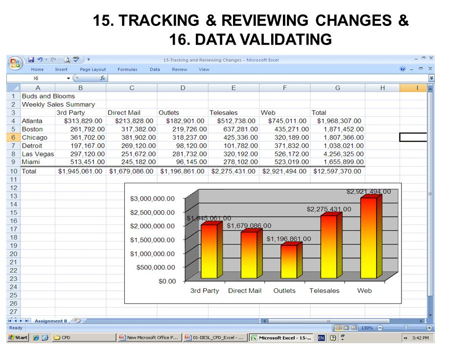 15. TRACKING & REVIEWING CHANGES & 16. DATA VALIDATING