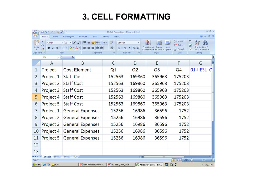 3. CELL FORMATTING