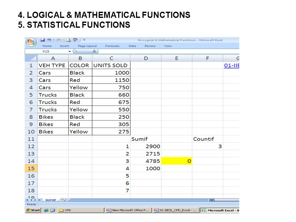 4. LOGICAL & MATHEMATICAL FUNCTIONS 5. STATISTICAL FUNCTIONS