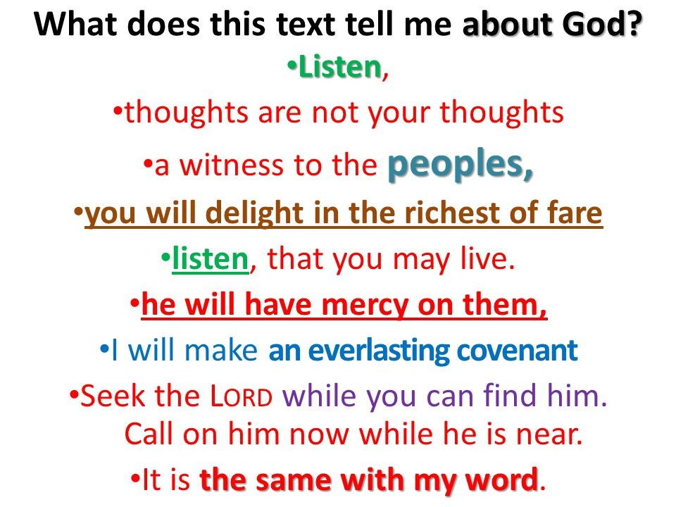 about God. What does this text tell me about God.