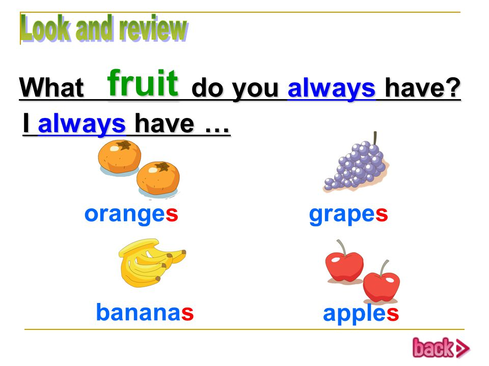 orangesgrapes bananas apples fruit What do you always have I always have …