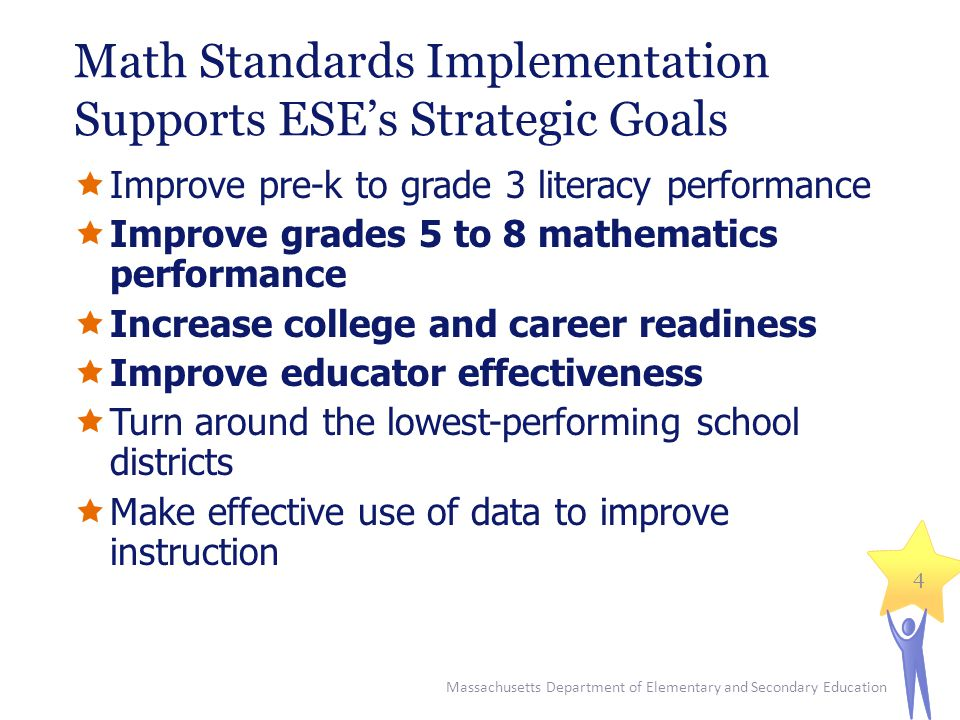Math Standards Implementation Supports ESE's Strategic Goals  Improve pre-k to grade 3 literacy performance  Improve grades 5 to 8 mathematics performance  Increase college and career readiness  Improve educator effectiveness  Turn around the lowest-performing school districts  Make effective use of data to improve instruction Massachusetts Department of Elementary and Secondary Education 4