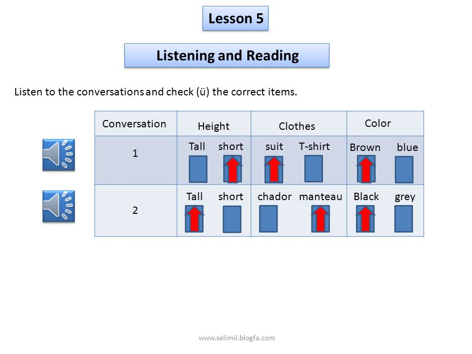 Lesson 5 Listening and Reading Listen to the conversations and check (ü) the correct items.