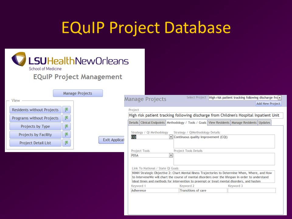 EQuIP Project Database