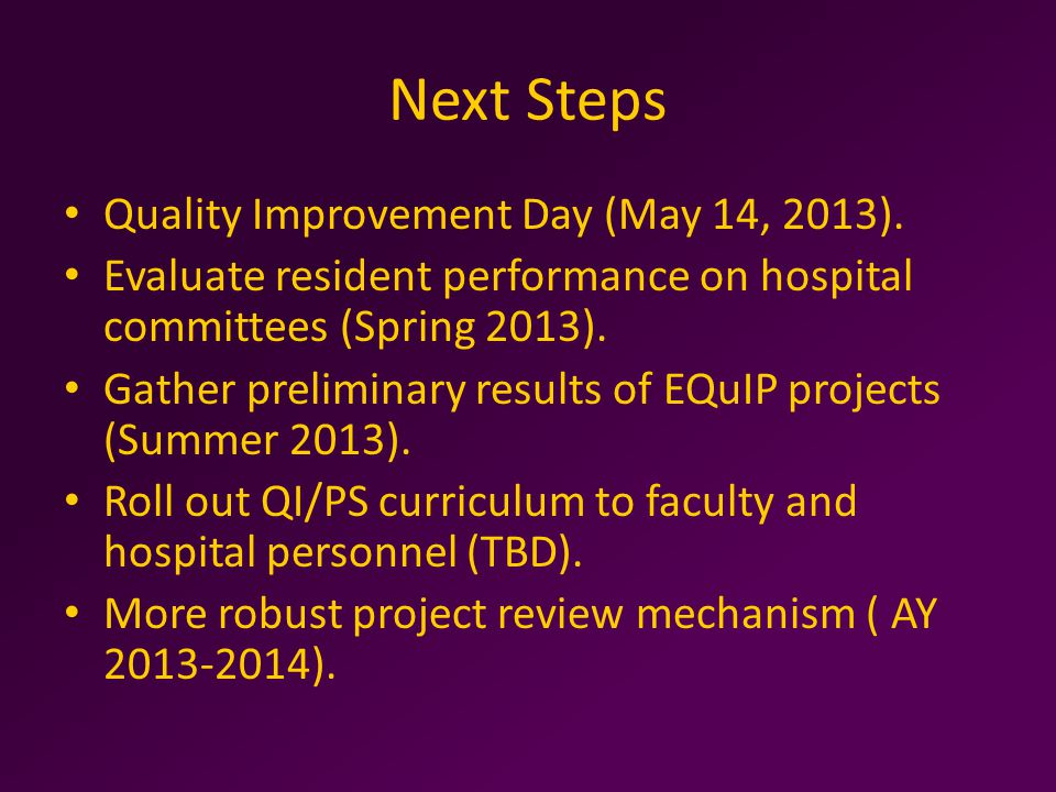 Next Steps Quality Improvement Day (May 14, 2013).