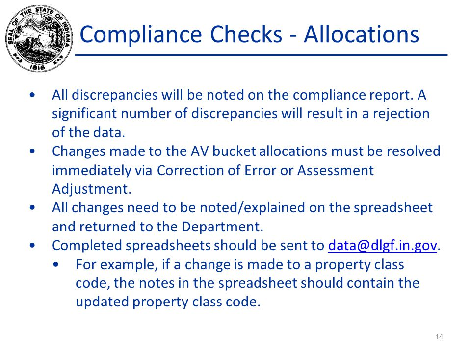 Compliance Checks - Allocations All discrepancies will be noted on the compliance report.