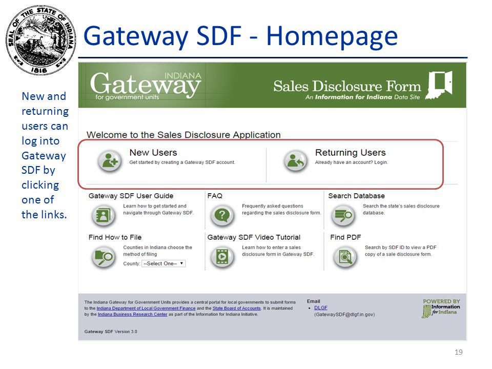 Gateway SDF - Homepage New and returning users can log into Gateway SDF by clicking one of the links.