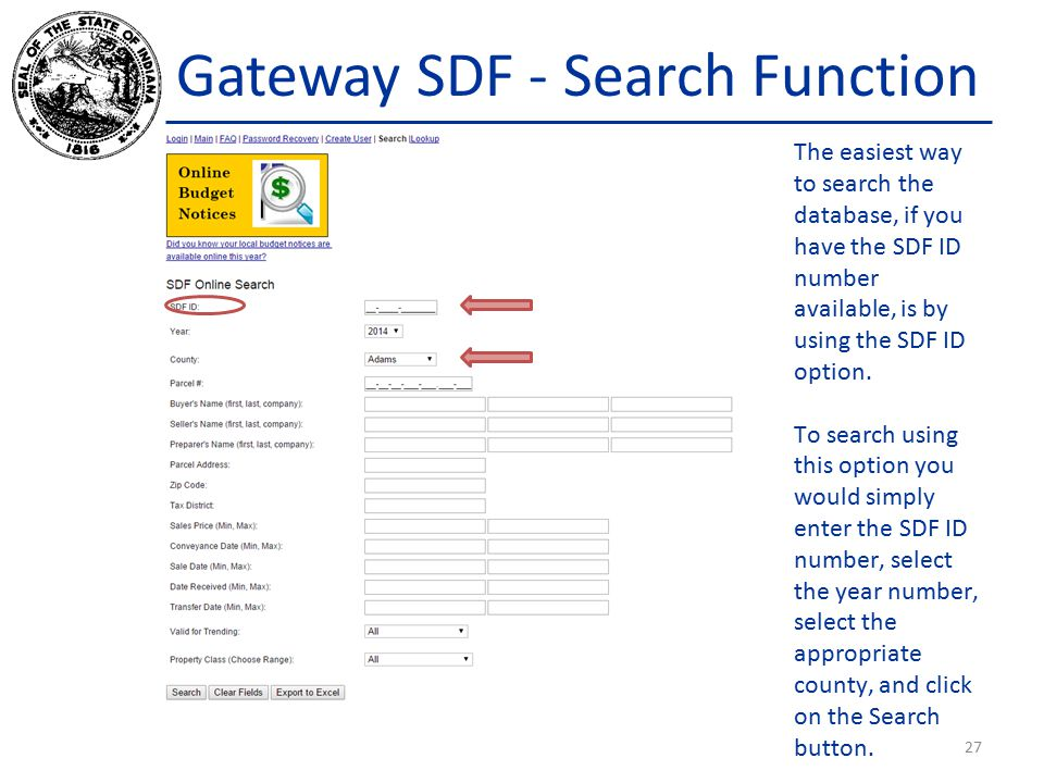 Gateway SDF - Search Function The easiest way to search the database, if you have the SDF ID number available, is by using the SDF ID option.