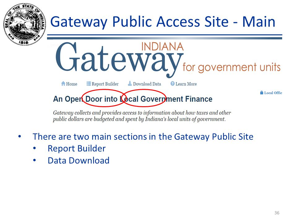 Gateway Public Access Site - Main There are two main sections in the Gateway Public Site Report Builder Data Download 36