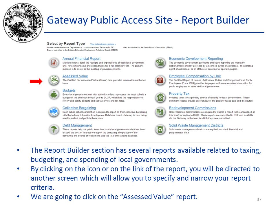 Gateway Public Access Site - Report Builder The Report Builder section has several reports available related to taxing, budgeting, and spending of local governments.