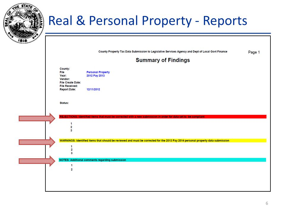 Real & Personal Property - Reports 6