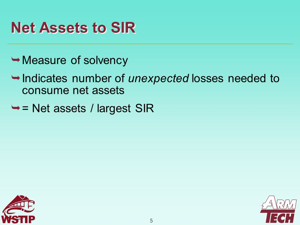 6  Measure of net asset adequacy  As ratio increases, the more likely it is that a high loss year will erode surplus  = Gross Assessments / Net Assets Gross Assessments To Net Assets