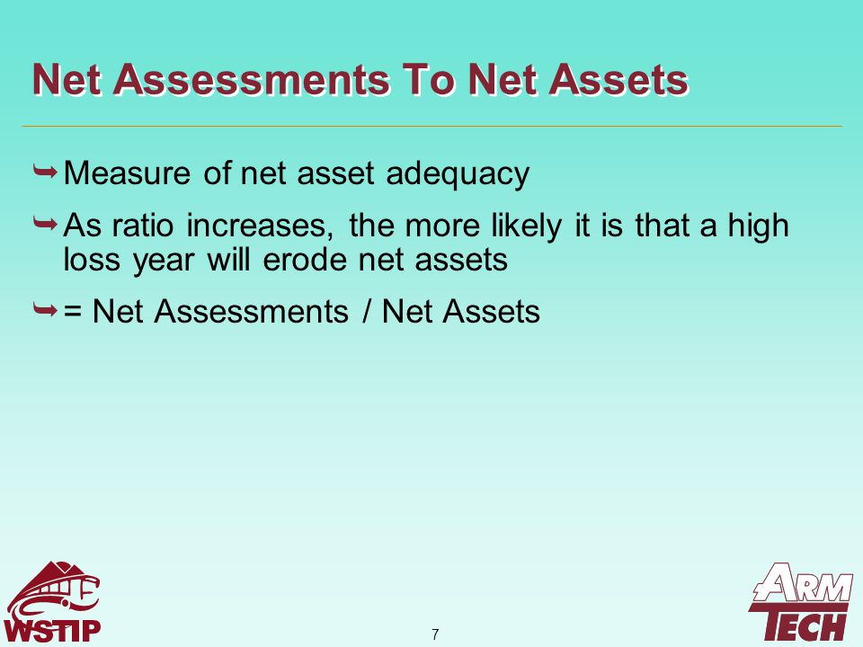 8  Measure of net asset adequacy  As the ratio increases, the more likely it is that upward development in loss reserves will exhaust net assets  = Loss Reserves / Net Assets Loss Reserves To Net Assets