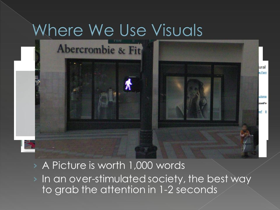 › A Picture is worth 1,000 words › In an over-stimulated society, the best way to grab the attention in 1-2 seconds