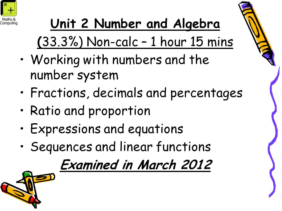 Unit 2 Number and Algebra (33.3%) Non-calc – 1 hour 15 mins Working with numbers and the number system Fractions, decimals and percentages Ratio and proportion Expressions and equations Sequences and linear functions Examined in March 2012