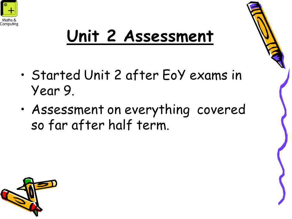 Unit 2 Assessment Started Unit 2 after EoY exams in Year 9.