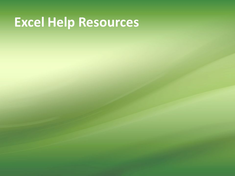 Excel Help Resources