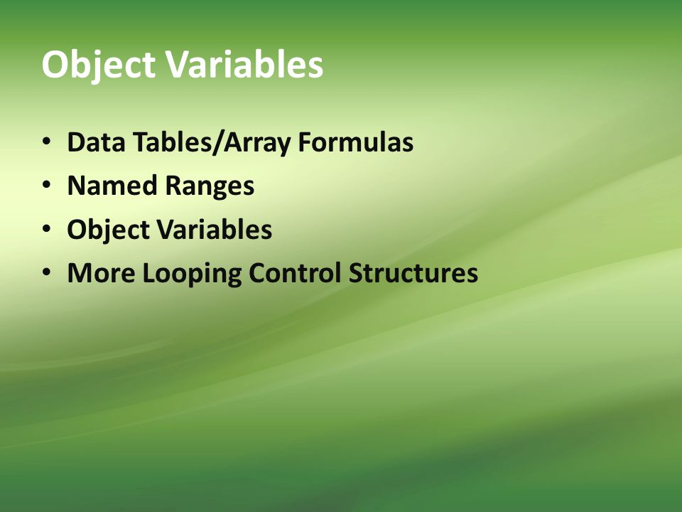 Object Variables Data Tables/Array Formulas Named Ranges Object Variables More Looping Control Structures