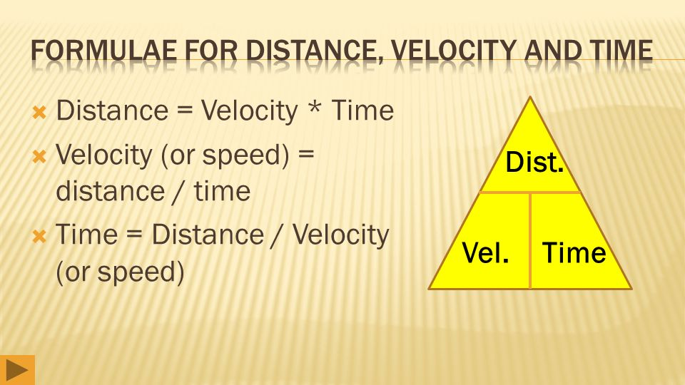  Distance = Velocity * Time  Velocity (or speed) = distance / time  Time = Distance / Velocity (or speed) Dist. Vel.Time