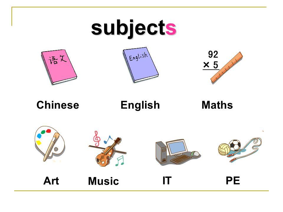 ChineseEnglishMaths Art Music ITPE subjects