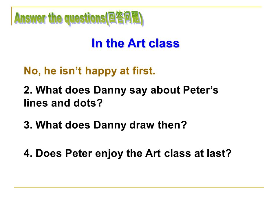 In the Art class 1. Is Peter happy at first in the Art class.