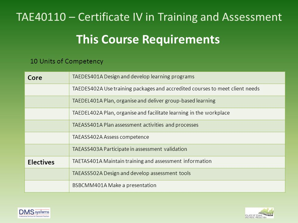TAE40110 – Certificate IV in Training and Assessment Assessment 1 activity 1.