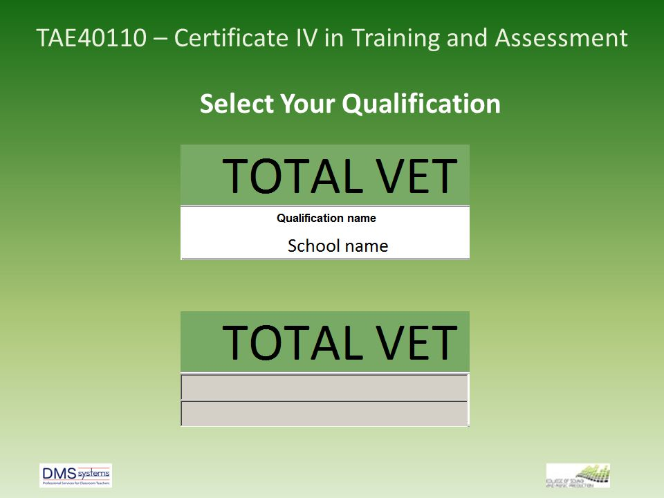 TAE40110 – Certificate IV in Training and Assessment Select Your Qualification