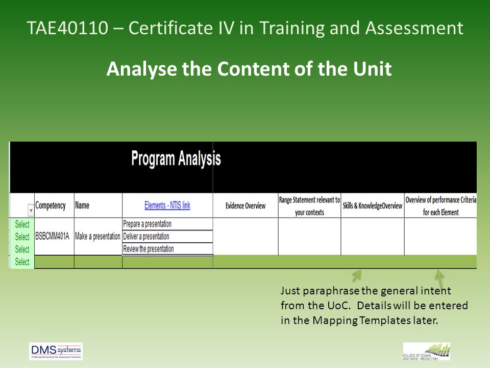 TAE40110 – Certificate IV in Training and Assessment Analyse the Content of the Unit Just paraphrase the general intent from the UoC. Details will be
