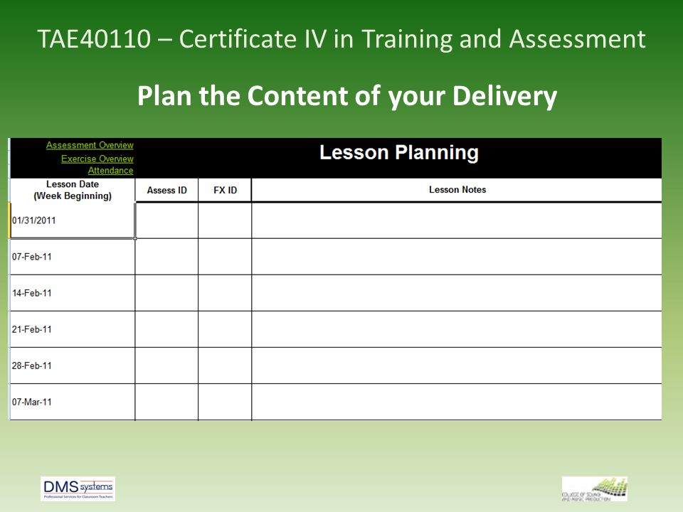 TAE40110 – Certificate IV in Training and Assessment Plan the Content of your Delivery
