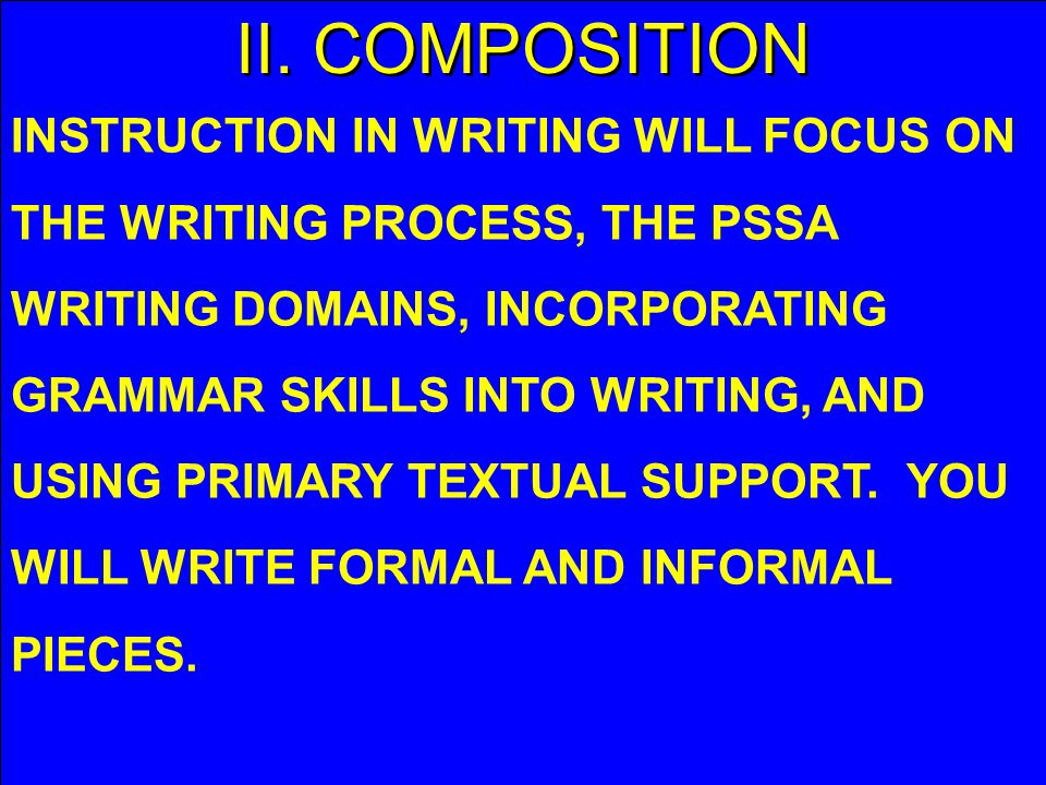 II. COMPOSITION INSTRUCTION IN WRITING WILL FOCUS ON THE WRITING PROCESS, THE PSSA WRITING DOMAINS, INCORPORATING GRAMMAR SKILLS INTO WRITING, AND USI