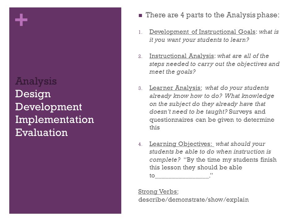 + Analysis Design Development Implementation Evaluation There are 4 parts to the Analysis phase: 1.