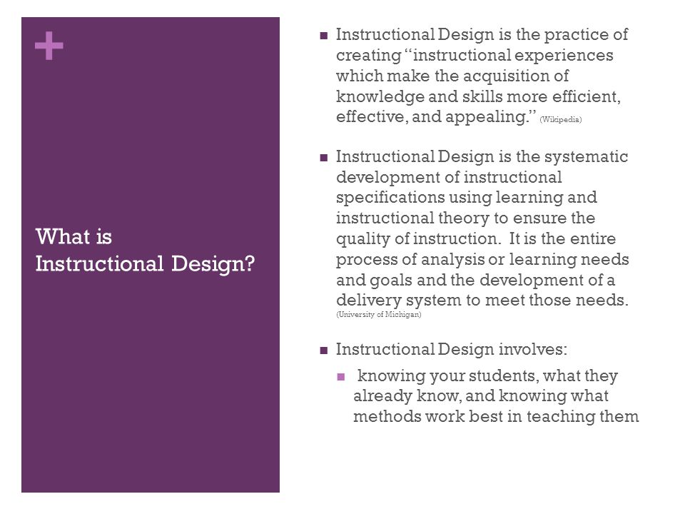 + What is Instructional Design.