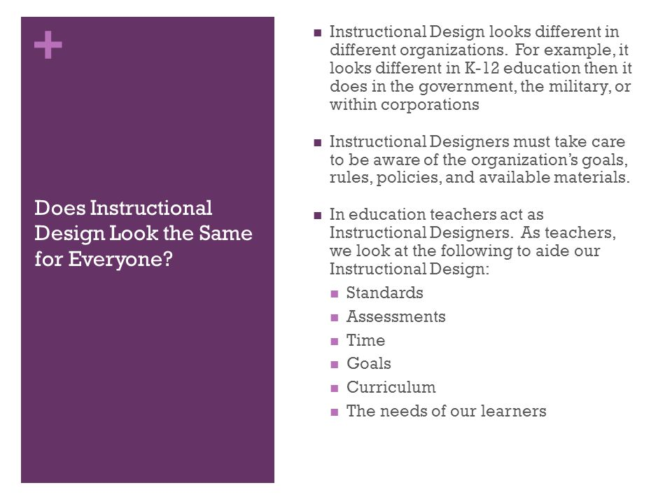 + Does Instructional Design Look the Same for Everyone.