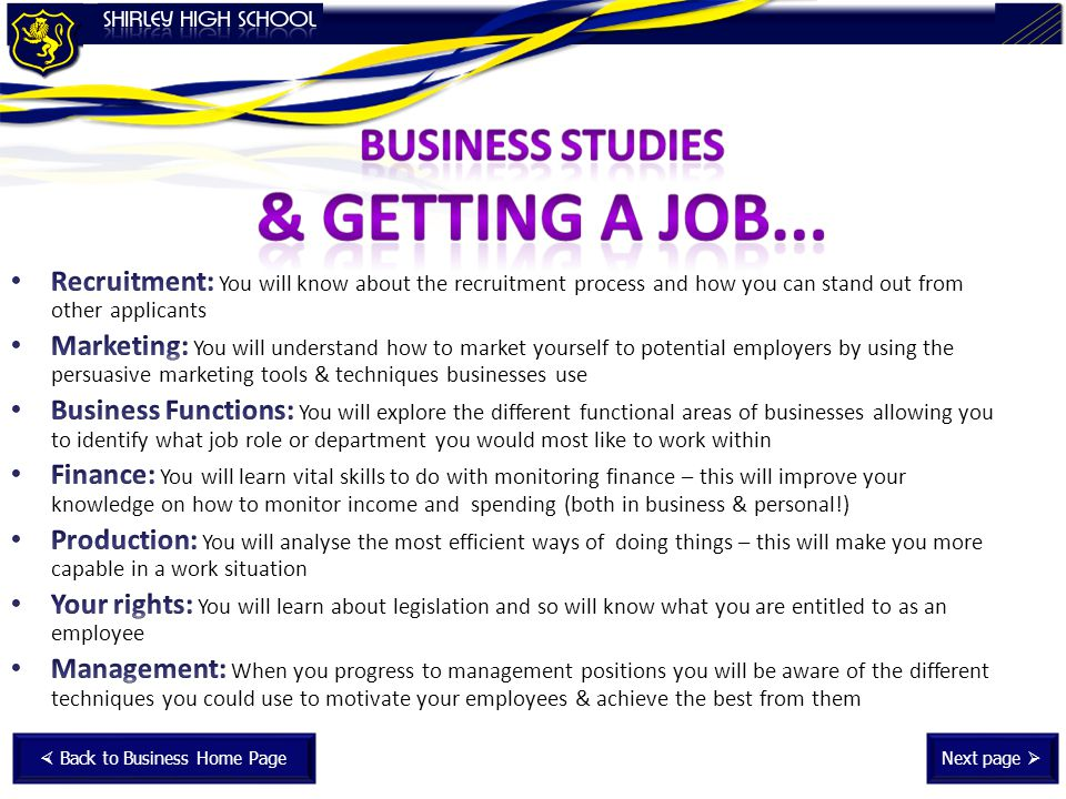 Next page  Back to Business Home Page
