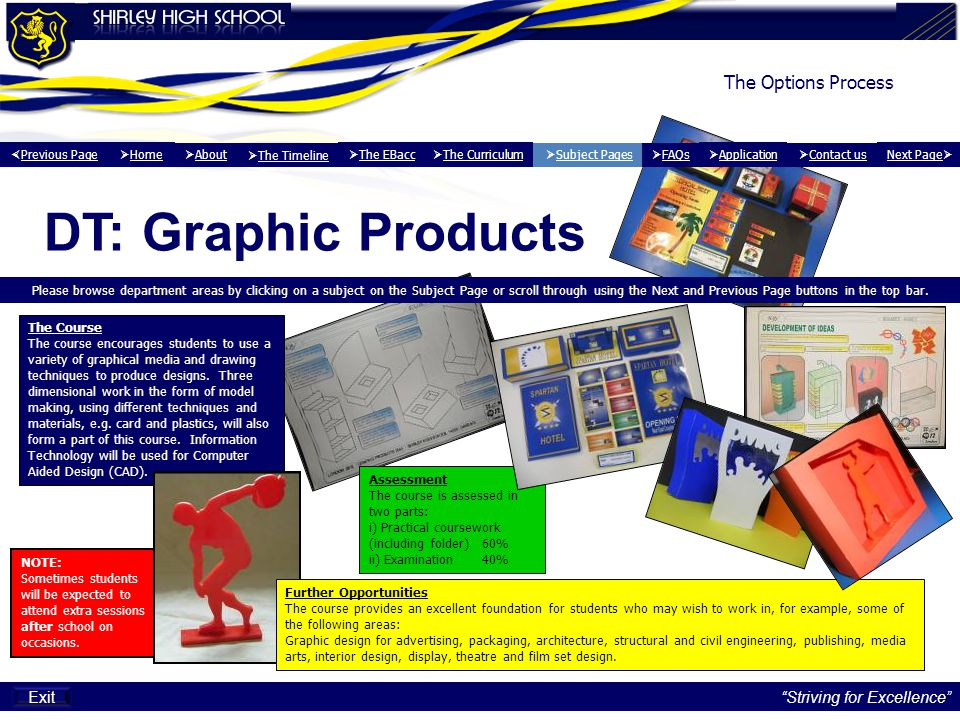 The Options Process DT: Graphic Products Please browse department areas by clicking on a subject on the Subject Page or scroll through using the Next